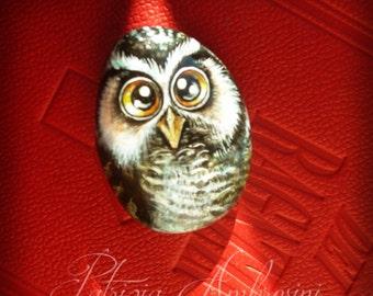 OWL N.39 -  Handpainted rock painting painted stone miniature painted rock pebble fine art