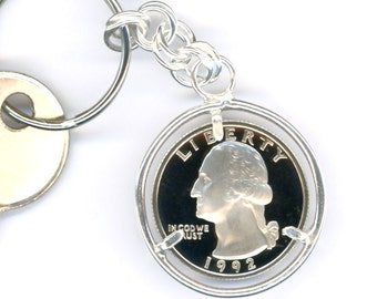 25th Anniversary Gift 25th Birthday Gift 1992 Quarter Silver Keychain Money Keychain 1992 Quarter Keychain