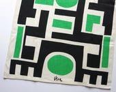 Vintage Vera Neumann Linen Tea Towel - Green Black White Abstract Geometric - Mid Century Kitchen Decor 1970s - Hand Towel