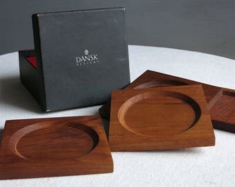 Vintage Dansk Teak Coasters - Set of Four by Jens Quistgaard IHQ 1960s Danish Mid Century Modern Barware - Brown Wood Simple Classic Design