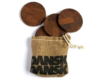 Vintage Dansk Teak Coasters - Set of Four by Jens Quistgaard IHQ 1970s Danish Mid Century Modern Barware - End Grain Wood Drinks Holder