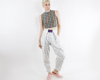 Vintage 80's casual cotton pants, white with new wave geometric print, tapered legs, adjustable velcro waist, side pockets - Small