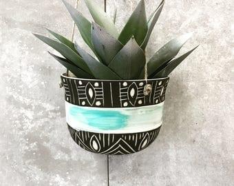 O C E A N: ceramic hanging planter
