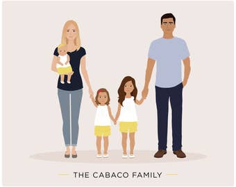 family illustration, Custom Family Portrait, illustrated portrait