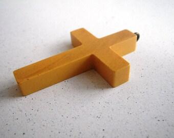 Marbled Bakelite Cross Pendant - Butterscotch Yellow