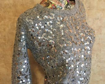 Vintage Soft Gray Sequin Sweater small