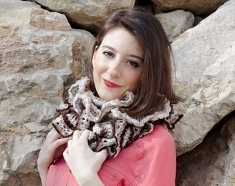 Dark and light brown and beige flounced crochet scarf