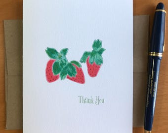 Strawberries Thank You  Note Card Set