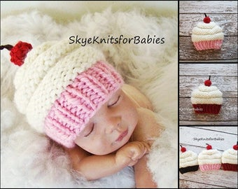 Newborn Photo Prop Girl, Newborn Boy, Newborn Cupcake Hat, Newborn Boy Cupcake Hat, Knit Baby Cupcake Hat, Newborn Cupcake Hat Knit Baby Hat