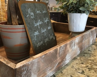 Distressed wood tray with mitered corners
