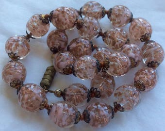 """Vintage Murano Glass Bead Necklace Clear Pale Pink Aventurine Copper Inclusions 16"""" Choker Length with Gold-Tone Caps 1950's"""
