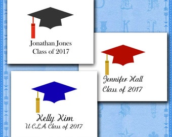 Graduation Note Cards, Personalized Custom, School Colors, Your Name, School, Class of 2017 Graduation Thank You/Graduation Party Invitation