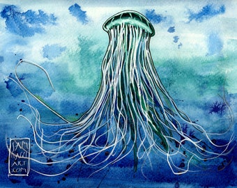 Emperor Jellyfish - Original watercolor painting