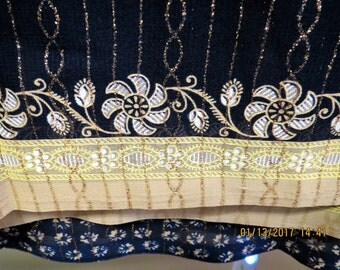 Blue and Gold Saree fabric. Chiiffon Saree in blue and gold