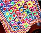 25% OFF In STOCK  Daisy Granny Squares Vivid Blanket Afghan Crochet 40 x 40 SALE
