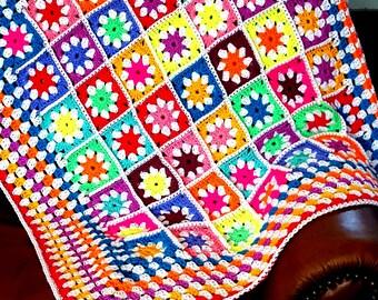Bright Daisy Granny Squares Vivid Blanket Afghan Crochet