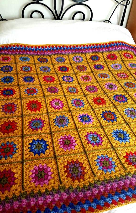 "Ready To SHIP Luxury Granny Squares Blanket Pure Wool Afghan  60"" x 60"""
