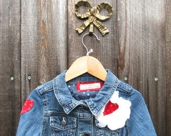 Vintage Jeans Jacket Recycled Denim Jacket Blue Jeans Jacket Kids Jacket Upcycled Jacket Recycled  Denim Jacket Recycled Toddler T2 T3