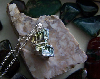 Rainbow Bismuth Wire Wrapped Crystal Pendant