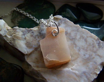 Natural Peach Moonstone Raw Gemstone Pendant