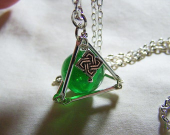 Silver Pyramid with Vintage Green Swirl Marble Pendant