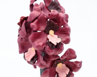 Leather Flower Burgundy Orchid Wedding 3rd Anniversary Gift Third Anniversary Long Stem Leather Flower Valentine's Day Mother's Day