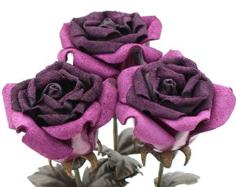 Purple leather rose suede rose bud bouquet third Anniversary wedding gift Long Stem leather Flower Valentine's 3rd Leather Anniversary