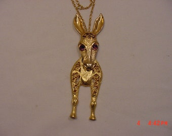 Large Sure To Be Seen Vintage Moveable Donkey / Mule Necklace  16 - 746