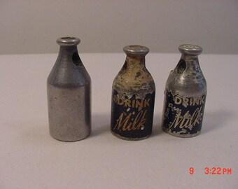 Three vintage Drink Milk Metal Milk Bottle Pencil Sharpeners   17 - 105