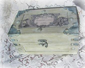 French Country Box, Decoupaged Wood Box, Gray Keepsake Box