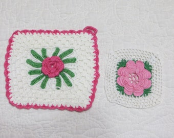 Vintage Crochet Roses Pot Holders-Set of 2
