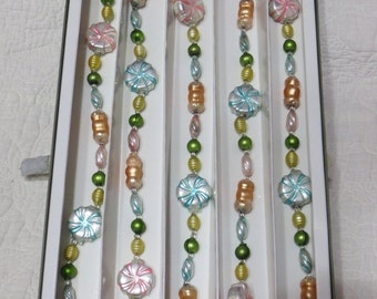 ON SALE Vintage Glass Christmas Tree Garland-Candy-Pastel