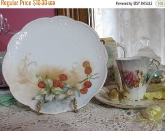 Store Closing SALE Vintage Hand painted Plate-Limoges-Marked-Dessert-Raspberries-7.25 inches