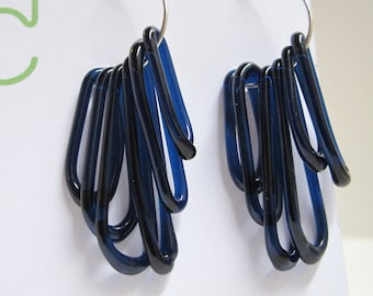 Midnight Blue Dangle Sterling Silver Hoop Earrings
