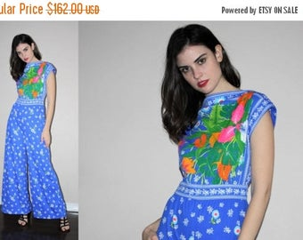 On SALE 40% Off - Vintage 1960s Mod Floral Boho Festival Jumpsuit - Vintage 60s Graphic Jumpsuits - W00805