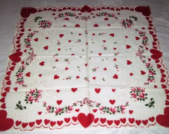 "Vintage Ladies Cotton Hankie Handkerchief Red Heart Valentine Design Pattern 15"" Square Never Used"