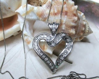 Valentines Sale 10k WG Diamond Open Heart Pendant with 20 inch 10k Box Chain  .50ctw 3.90g