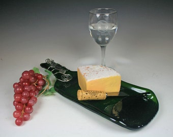 Flattened, Slumped, Melted Wine Bottle, Recycled  Wine Bottle Cheese and Cracker Tray
