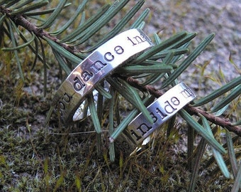 10 dollars off: HIS and HERS - Custom Sterling Silver Hand Stamped Rings - 11 FONT Choices