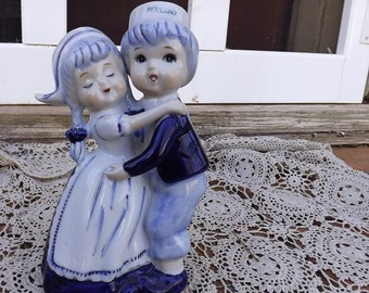 Delft Blue Hand Painted Dutch Girl And Boy Figurine From Holland