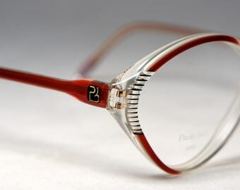 Vintage Burgundy, Crystal Detailed 1980's Eyeglass Frames, New Old Stock, Paola Belle, France