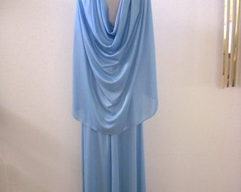 Vintage 70s Blue Grecian Maxi Dress with Cape - 1970s Boho Prom Dress - Long Blue Evening Dress with Capelet - Size Medium