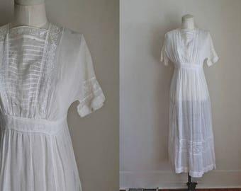 antique 1910s edwardian lawn dress - GLOWING DAISY antique white dress / XXS