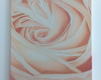 """Peach Rose Oil Painting - Gallery Wrapped Giclee Reproduction on Canvas - 21.25"""" x 28.25"""""""