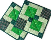 """St. Patrick's Day Quilted Pot Holders / Hot Pads/Trivets/Mug Rugs/Candle Mats–9-1/2"""" x 9-1/2"""" - Set of 2–Light Green, Dark Green, White, Tan"""