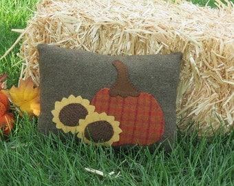Primitive Harvest Pillow Orange Pumpkin Thanksgiving Harvest Folk Art