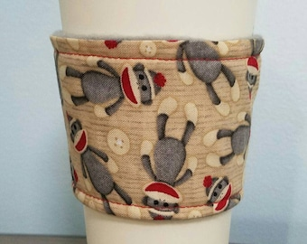 Sock Monkey Coffee and Tea Cozy Sleeve