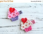 CLOSING SALE Valentine's Day Felt Clip-Cupcake Heart-U Pick Color-felt cupcake hair clip-made by Maddie B's Boutique on Etsy
