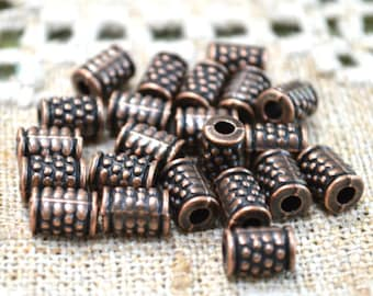 50pcs Metal Bead Antiqued Copper 8x5mm Beaded Tube