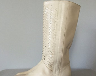 30% OFF SALE... herringbone tall leather boots | 1970s pirate boots | 8.5